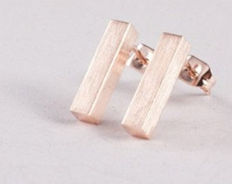 BAR NONE >> 18k rose gold stick earrings <<< proceeds donated to the Humane Society >>> on card ready to give