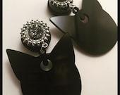 PICK SIZE Silver Druzy Stone Luna Kitty Sailor Moon Dangel Ear Plug Gauge