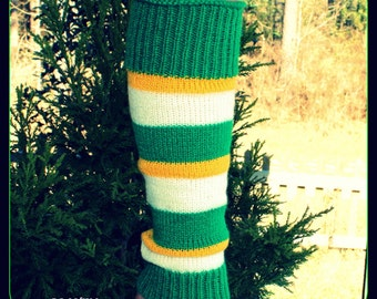 Child Green/Gold/White Leg Warmers 13 inches