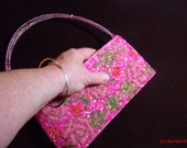 SALE 15% OFF - Hot Pink Pocketbook, Anything Pink, Evening bag, pink beaded bag, designer beaded clutch....
