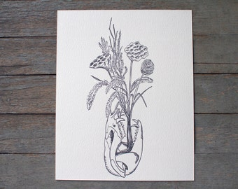 Possum Skull Dried Flowers letterpress art print