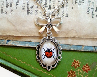 Little Red Ladybug Necklace in Silver - Antique Insect Print Pendant - Spring - Summer - Cottage Chic