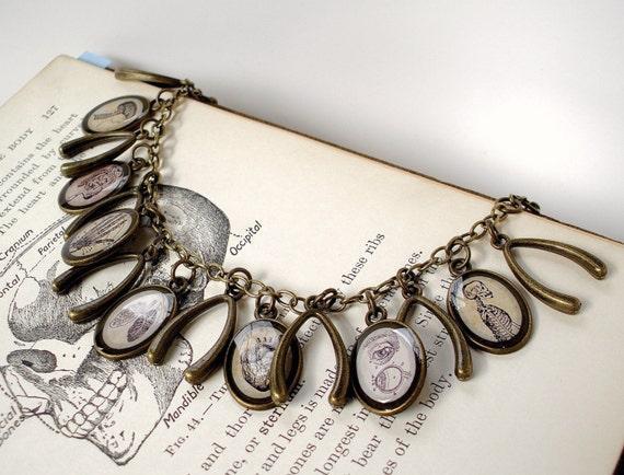 The Anatomy Book - Anatomical Charm Bracelet - Antique Print Charm Bracelet in Bronze - Anatomical Heart - Lungs - Skeleton - Brain