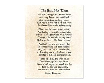 Road Not Taken, Robert Frost Poem, Poetry Art, Graduation Gift, Modern Art, Literary Quote, Book Art Print, Large Wall Art, Fine Art Print