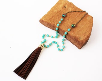 Long Leather Tassel Necklace Brown and Turquoise