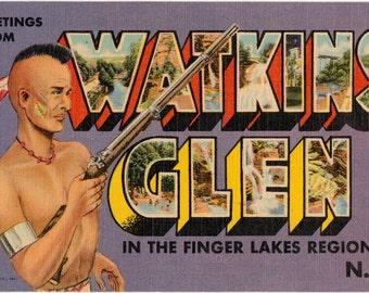 Linen Postcard, Greetings from Watkins Glen, New York, Finger Lakes, Large Letter