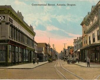 Vintage Postcard, Astoria, Oregon, Commercial Street, Businesses, 1920