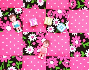 Playmat Baby Patchwork Quilt, Retro Florals and Polka Dots