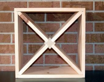 "DIY 15"" Wood Wine Rack Kit Square X Insert Kitchen Bath Bedroom Storage Holds 12 Bottles"