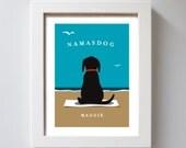 Yoga Dog Beach Art Namaste Personalized Dog Art Labrador Retriever Yellow Lab Chocolate Black Lab Beach House Spiritual Dog