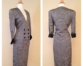 ON SALE Vintage Two Piece Womens Dress Suit Jacket and Pencil Skirt 80s Does 40s 50s 60s - Rockabilly Pinup Wiggle Dress Skirt Size 5/6 Smal