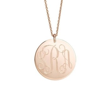 14k Rose gold filled MONOGRAM 1 inch pendant necklace  Custom engraved with names, initials or coordinates • Personalized charm & rolo chain