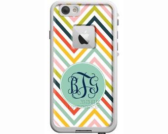 Color Me Happy Chevron Monogrammed LifeProof iPhone 6, iPhone 6 Plus, iPhone 5/5s/SE, iPhone 5c Custom Printed Watereproof Phone Case