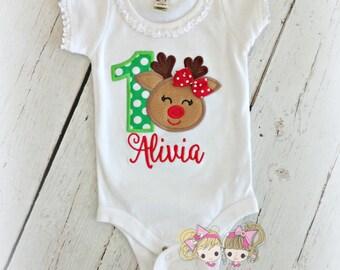 Christmas Birthday shirt- Reindeer birthday shirt- 1st Christmas shirt - 1st Christmas birthday shirt with reindeer- holiday reindeer shirt
