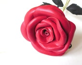 Red Leather Rose - white leather  Flower, Long Stem,Gift anniversary,wedding gift