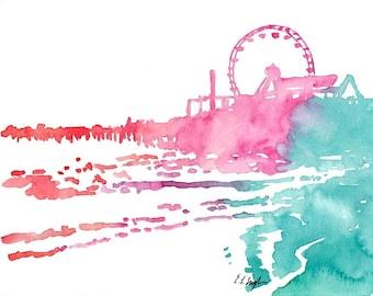 Santa Monica Pier, Original Watercolor Painting, 8x10, beach landscape art, california, pink, teal, coral, ferris wheel