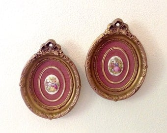 Wall Decor - Pair of Cameo Wall Plaques - Victorian Decor