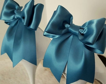 Satin Bow Shoe Clips, Wedding Shoe Clips, Bridal Shoe Clips, Blue Haze, Shoe CLips,  Shoe Clips for Wedding Shoes, Bridal Shoes, MANY COLORS