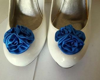 Wedding Shoe Clips, Rose Shoe Clips,  Roses, Bridal Shoe Clips, Shoe Clips, Clips for Wedding Shoes, Bridal SHoes, Royal Blue Wedding