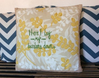 Here I Lay My Burdens Down Throw Pillow