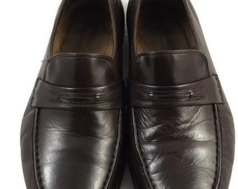 Mens Chocolate Brown Oleg Cassini Loafers Slip On Dress Shoes Size US 9.5 Wide
