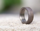 Men's titanium and bentwood ring. Wooden grey wood wedding band. Water resistant, very durable and hypoallergenic. (00500_7N)