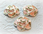 "Pink Rose Cabochons. Pink Rose Rhinestone Flat backs. 1"" Across. Set of 3."