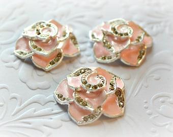 "Pink Rose Cabochons. Pink Rose Rhinestone Flat backs. 1"" Across. Set of 3."