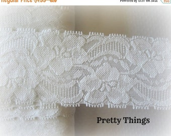 """ON SALE Off White Stretch Lace. 1.75"""" Width.  You Choose Quantity."""
