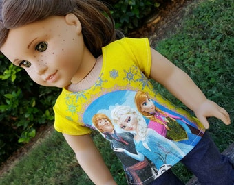 Yellow Frozen Tee for American Girl Dolls