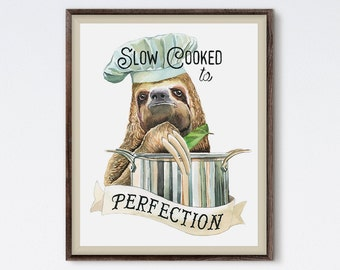Slow Cooking Sloth - Sloth Painting - Sloth Print - Canvas Art - Funny Art - Food Art - Sloth Art - Watercolor - Animal Art - Kitchen Print