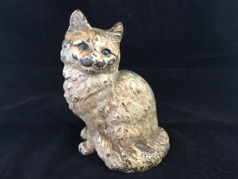 Antique hubley cat cast iron doorstop sitting kitty primitive - Cast iron cat doorstop ...