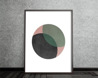 Circle Print, Abstract, Art, Poster, Mid Century Modern, Geometric, Minimalist, Modern, Contemporary