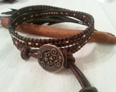 Double wrap statement bracelet, brown leather, burgundy and gold seed bead mix