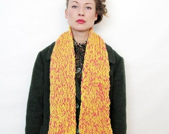 ON SALE Vintage Pink and Yellow Hand Knit Scarf
