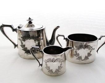 Quadruple Teapot Service, Victorian Silver Plate Sugar Bowl, Downton Abbey