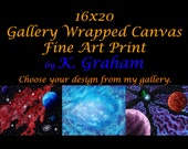16x20 Gallery Wrapped Stretched Canvas Fine Art Print of Original Painting By K. Graham Space Holiday Landscape Abstract Art Surreal Photos