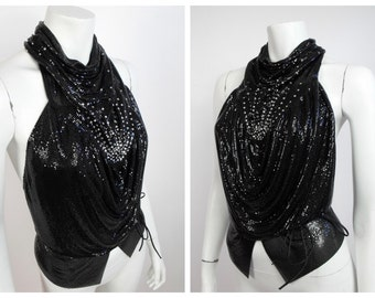 1970's Black Whiting and Davis Metal Mesh High Collar Halter Top / World's Largest Disco / One Size / Free Shipping / 70's Mesh Disco Top