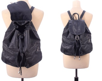 Real Leather Backpack 90s FADED BLACK Large Rucksack Vintage Soft Textured Daypack Bookbag Hipster Festival Knapsack School Bag Gift Idea