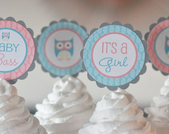 12 Coral, Grey & Turquoise Blue Mod Modern Owl Theme Baby Shower or Birthday Cupcake or Cake Toppers - Ask About our Party Pack Sale