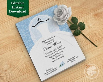Light Blue Bridal Shower Invitation Template, Wedding Shower Invitations - Dress on Hanger Light Blue