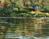 SCULLING- 36x12 A Peace of River Contemporary Painting by Carrie Tasman