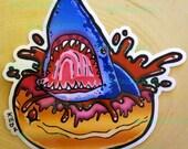 Shark Donut Vinyl Sticker