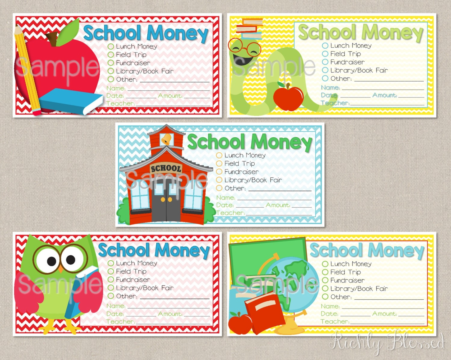 Personalized School Money Printable Stickers School Labels