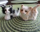 B430)  2 Vintage Handmade Kitten Furry Figure miniatures