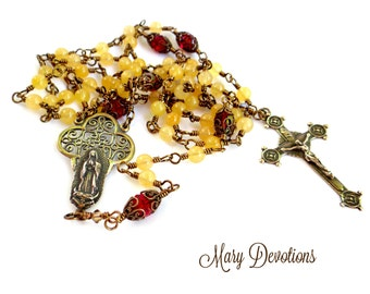 "Yellow Jade and Siam Crystal ""Our Lady of Guadalupe Roses in December"" Rosary"