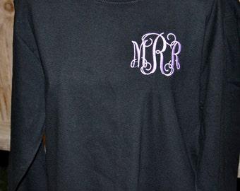 Monogrammed Tshirt, Embroidered Tshirt, Short Sleeve Tee or Long Sleeve Tshirt, Preppy Tshirt, Monogram Tshirt, Personalized Tshirt