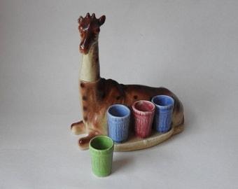Giraffe German Made Pottery Bar Set