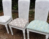 dining chairs shabby chic distressed hand painted up dated rattan high back wood base legs