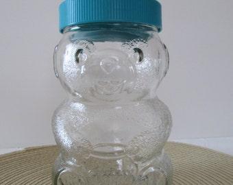 Vintage Skippy Peanut Butter Bear Glass Jar